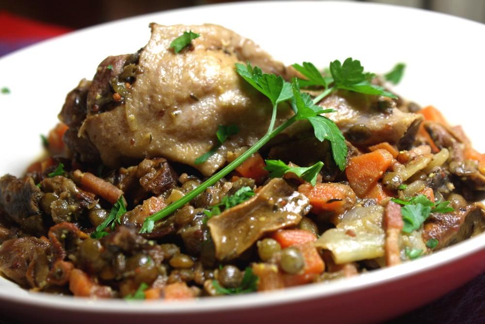 Lentilles vertes aux manchons de canard c pes les - Cuisiner lentilles seches ...