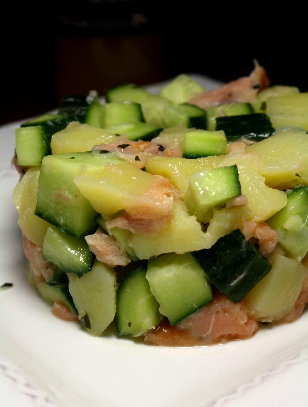 salade de pommes de terre saumon concombre les delices de letiss. Black Bedroom Furniture Sets. Home Design Ideas