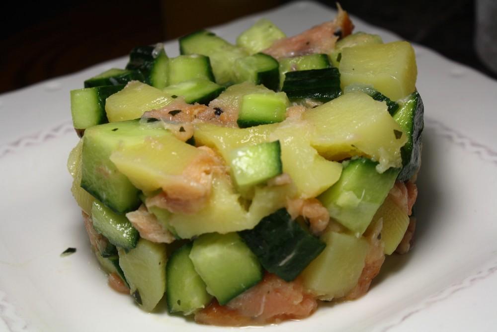 Salade de pommes de terre saumon concombre les - Salade pomme de terre saumon fume ...