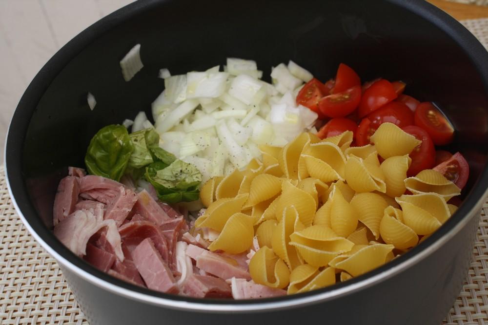 One pan pasta jambon tomates cerises pesto de - Comment cuisiner une courgette spaghetti ...